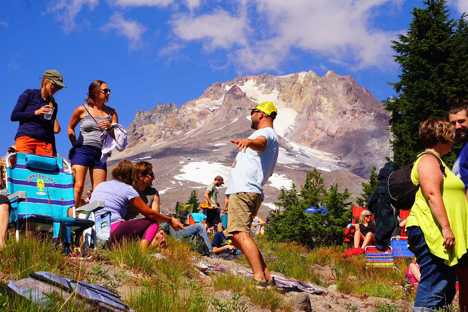People having fun at an event on a hot summer day at Mt. Hood