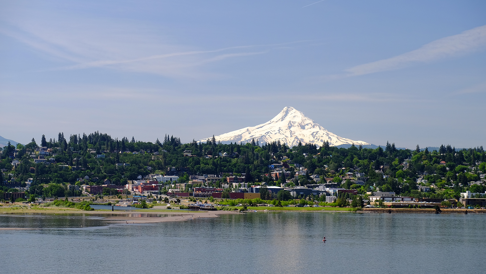 Looking south at the town of Hood River with majestic Mt. Hood in the background