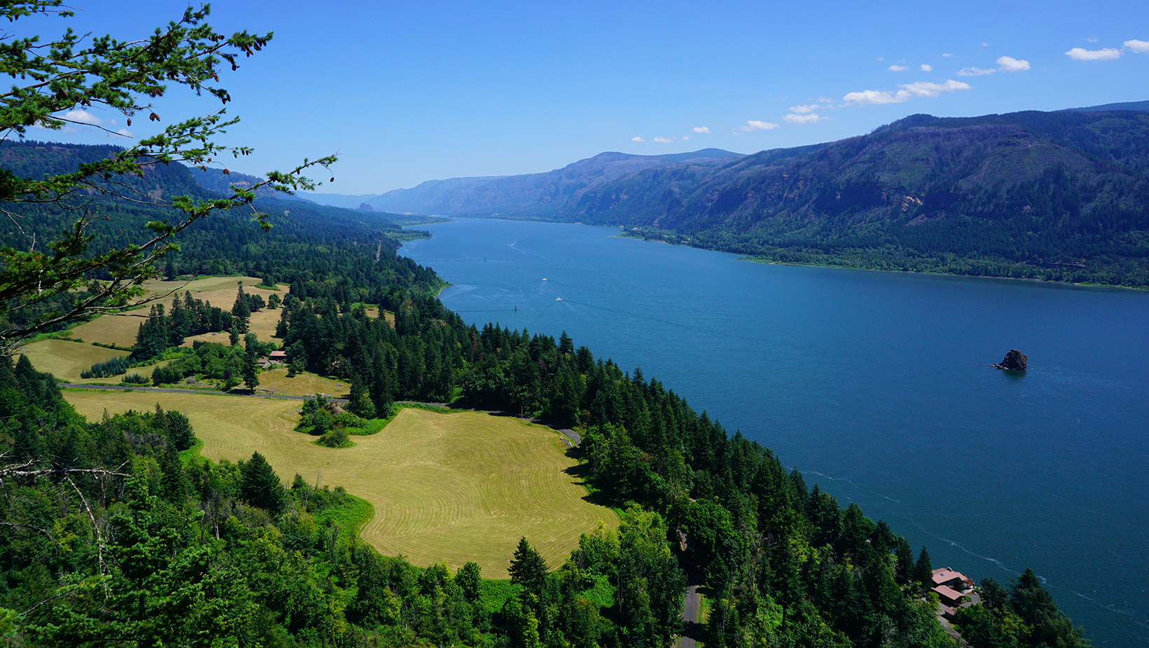 An expansive view of the Columbia River Gorge looking eastward from Cape Horn