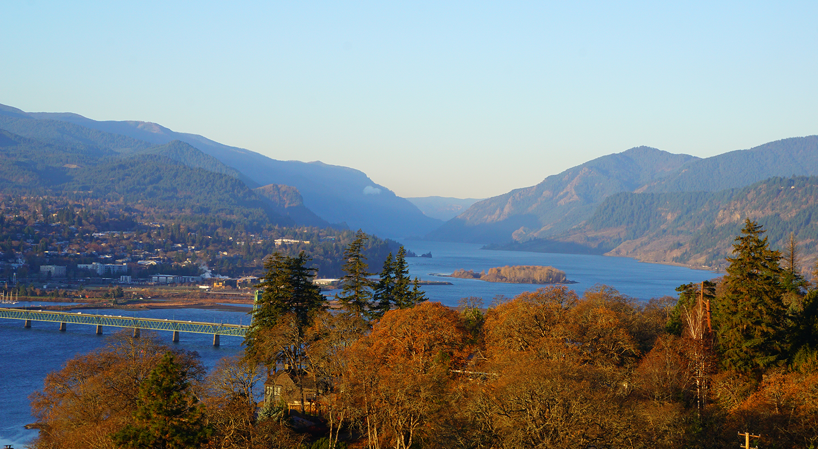 A gorgeous fall view looking westward down the Gorge with Hood River to the south