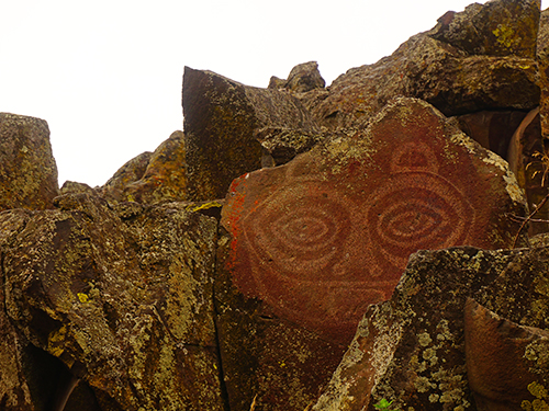 The famous petroglyph, She Who Watches, in the Horsethief Lake section of Columbia Hills State Park in East Gorge Washington