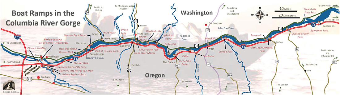 Map of boat ramps in the Columbia River Gorge in Oregon and Washington