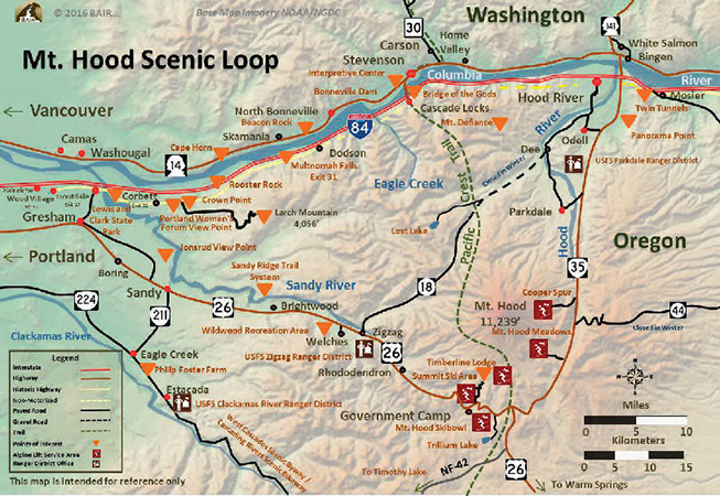 The Mt. Hood Scenic Loop Map guides you from Troutdale to Hood River through Mt. Hood Territory and back
