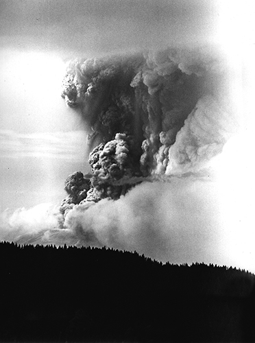 A photo of Mt. St. Helens volcanic eruption on May 18, 1980