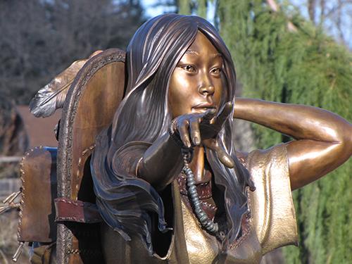 Close up of the beautiful sculpture of Sacagawea in Cascade Locks, Oregon
