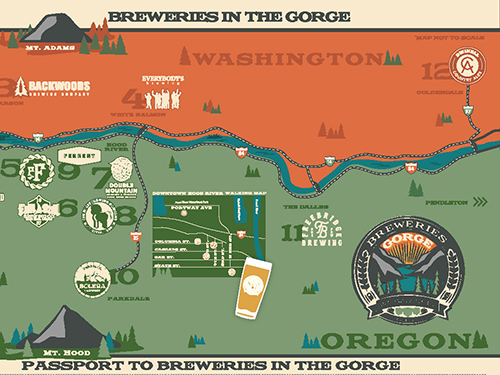 The Breweries in the Gorge map helps you discover some of the Nation's finest beer in the Gorge