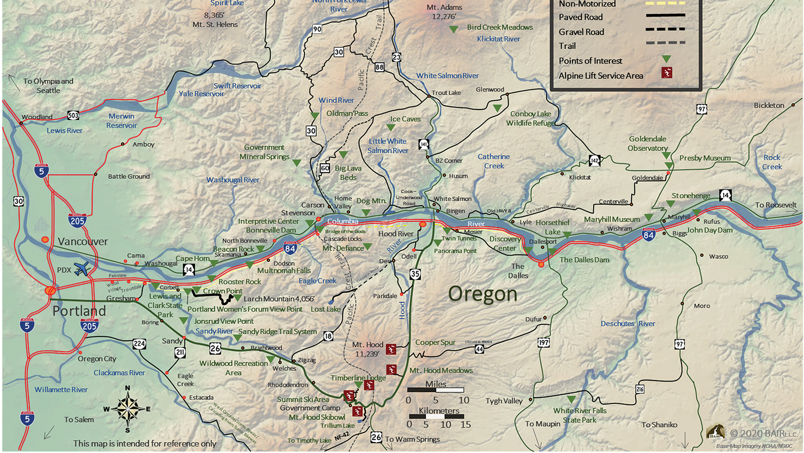 A map displaying Columbia River Gorge travel on I-84 in Oregon and Hwy 14 in Washington