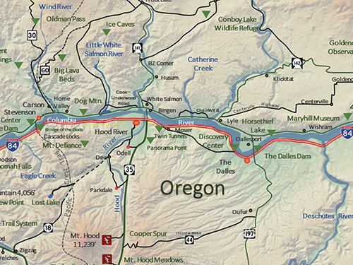 A map displaying Columbia River Gorge and surrounding area travel in Oregon and Washington