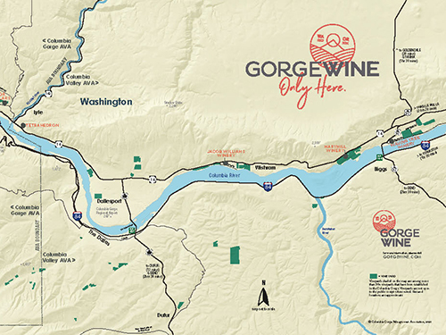 Use the Gorge Wine map to plan your tour of Columbia Gorge wine country in both Oregon and Washington