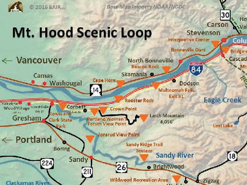 The Mt. Hood Scenic Loop Map that guides you from Troutdale to Hood River to Mt. Hood and back
