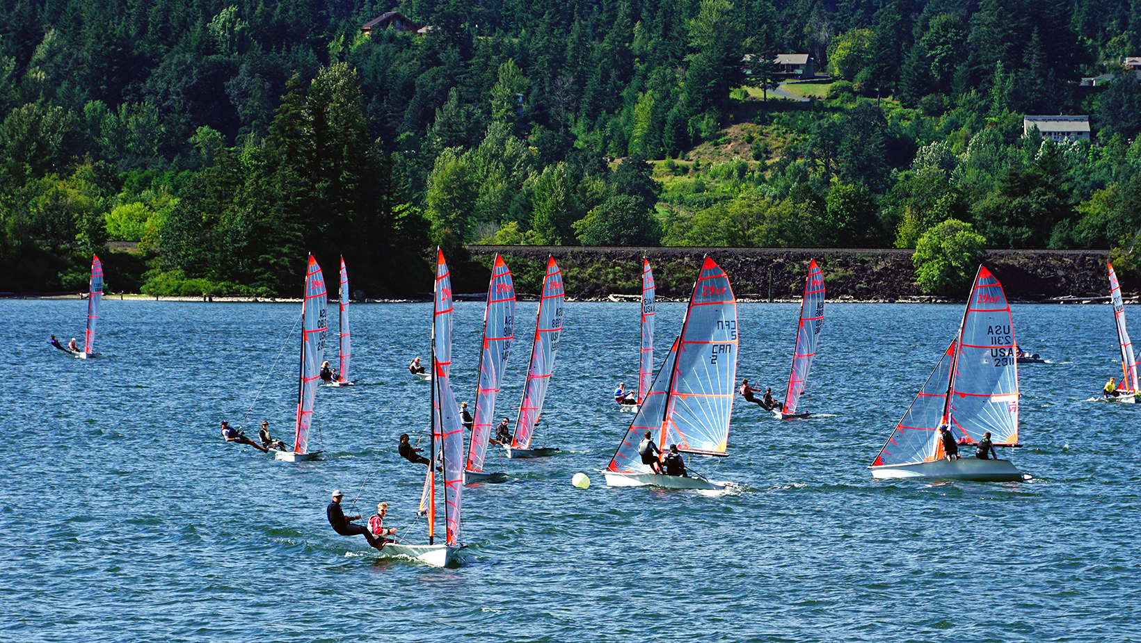 Sailors race across the Columbia River in Cascade Locks during one of many sailing regattas and championships in the Gorge
