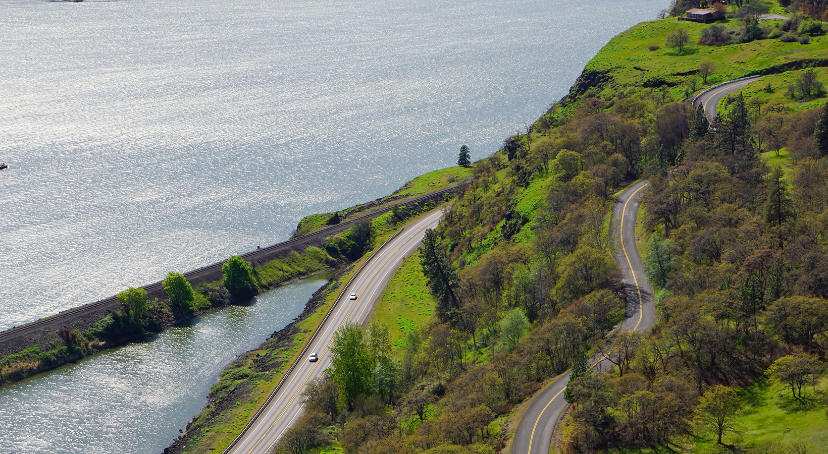 A view of Hwy 14 and a winding secondary road that's very popular for taking scenic drives
