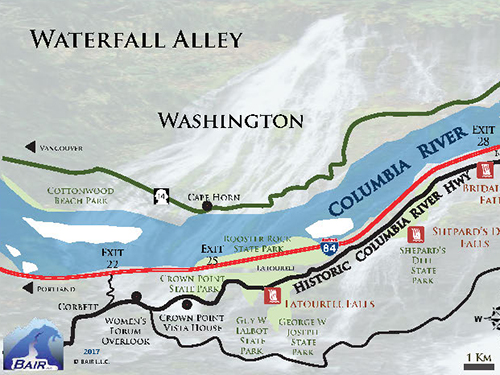 Known as Waterfall Alley, this map displays all waterfall locations along Oregon's Columbia River Gorge Scenic Highway