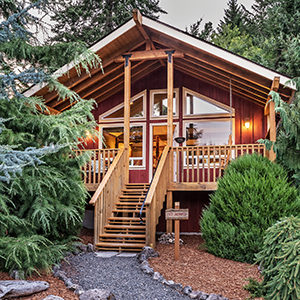 Choose to stay in one of ten luxury cabins at Carson Ridge Luxury Cabins in Carson, Washington