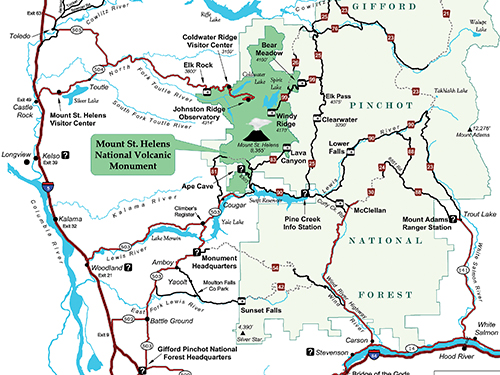 A map displaying Mt. St. Helens, the Gifford Pinchot National Forest, the Columbia River Gorge and surrounding areas