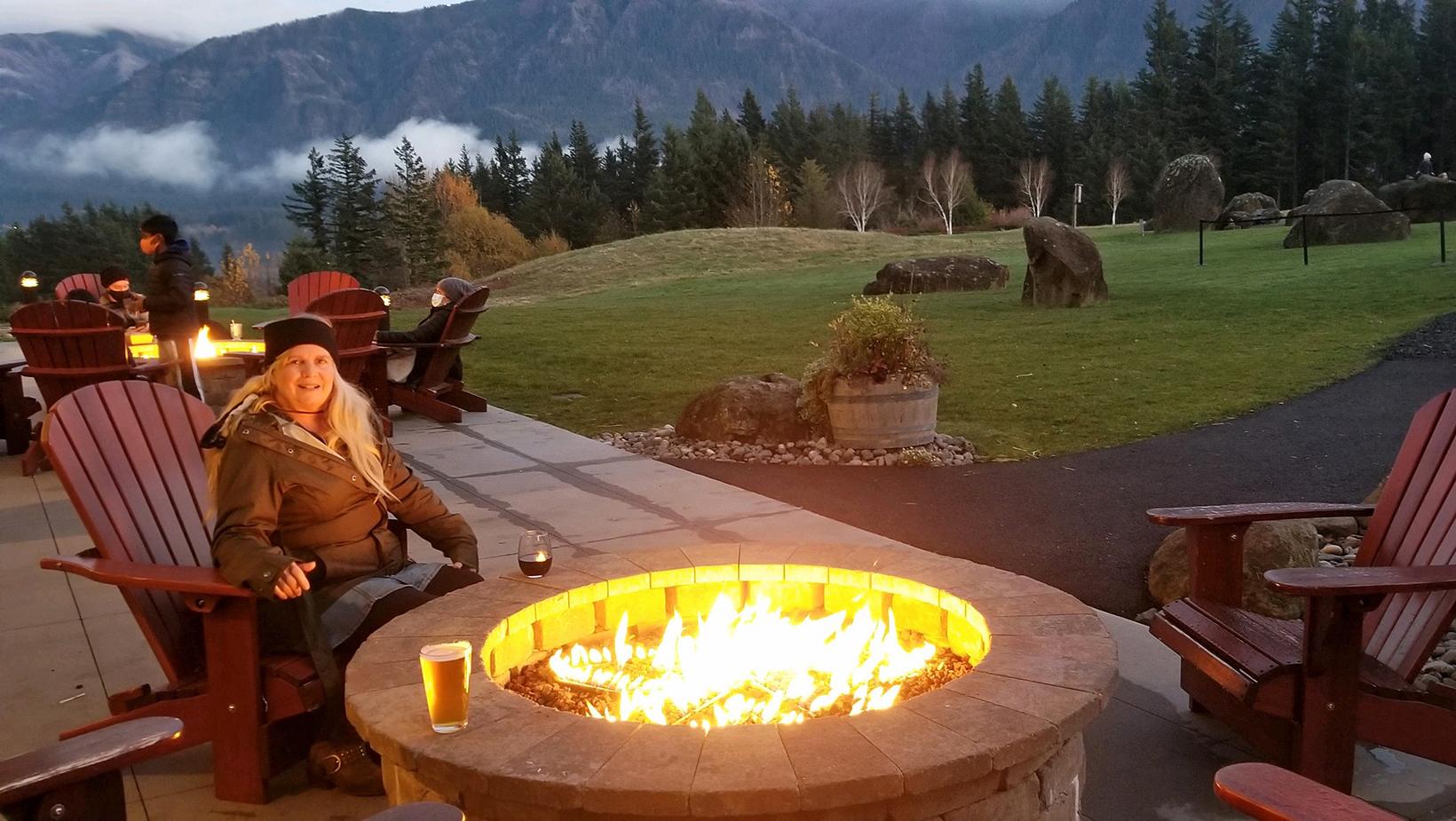 Outdoor dining and firepit on a covid winter trip at Skamania Lodge