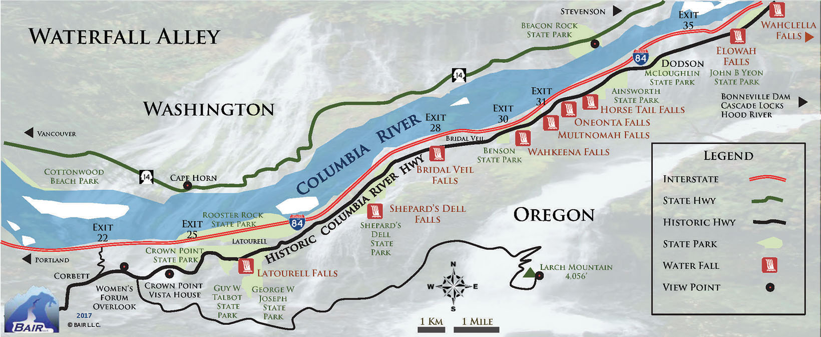 Map of Waterfall Alley along Oregon's Historic Columbia River Highway in the Gorge