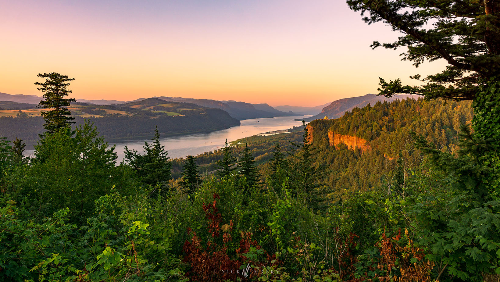 An eastward view of Crown Point, Beacon Rock and the Columbia River Gorge from Oregon's west end